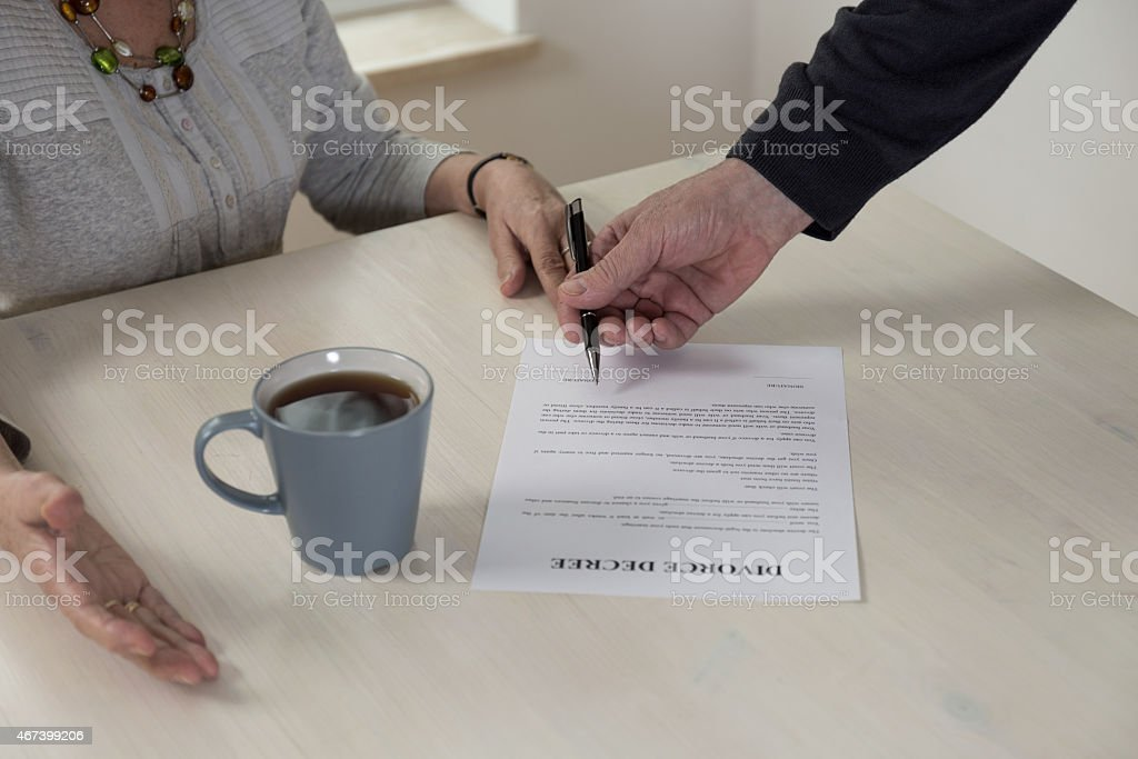 Divorce paper on the table stock photo