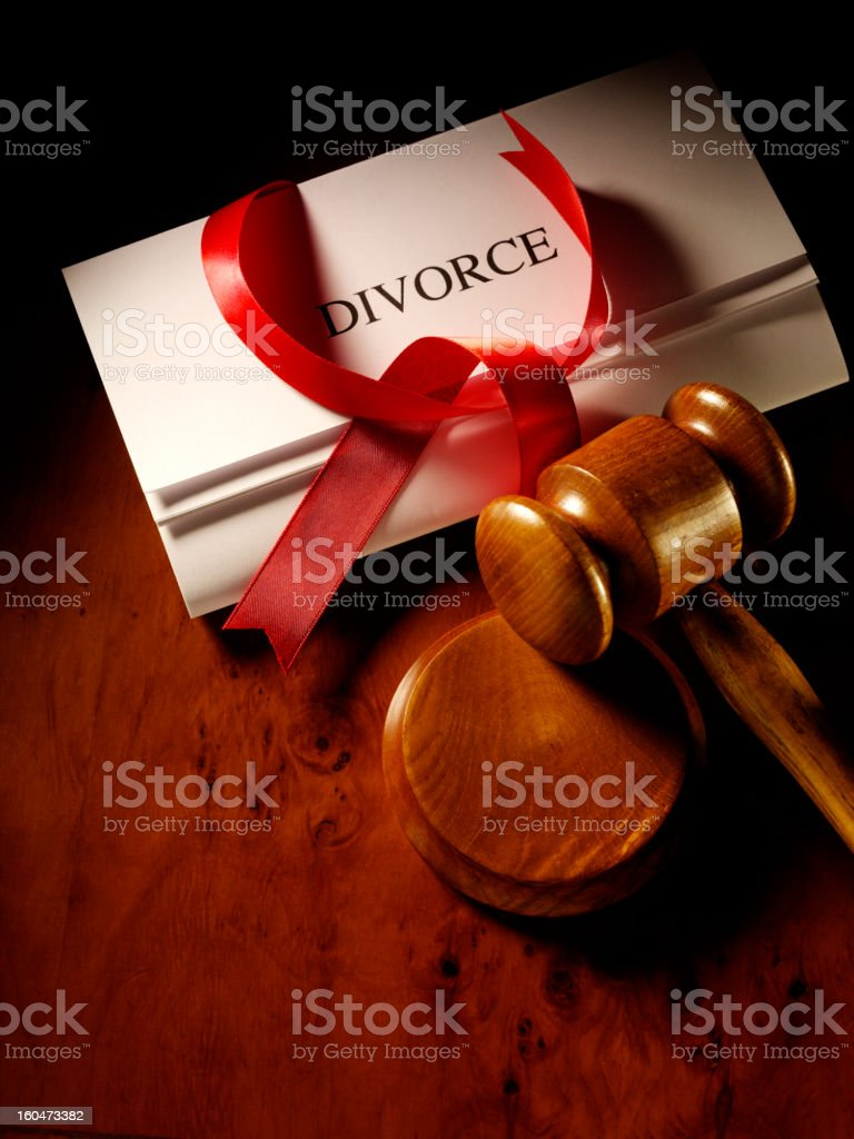 Divorce Papers and Gavel royalty-free stock photo