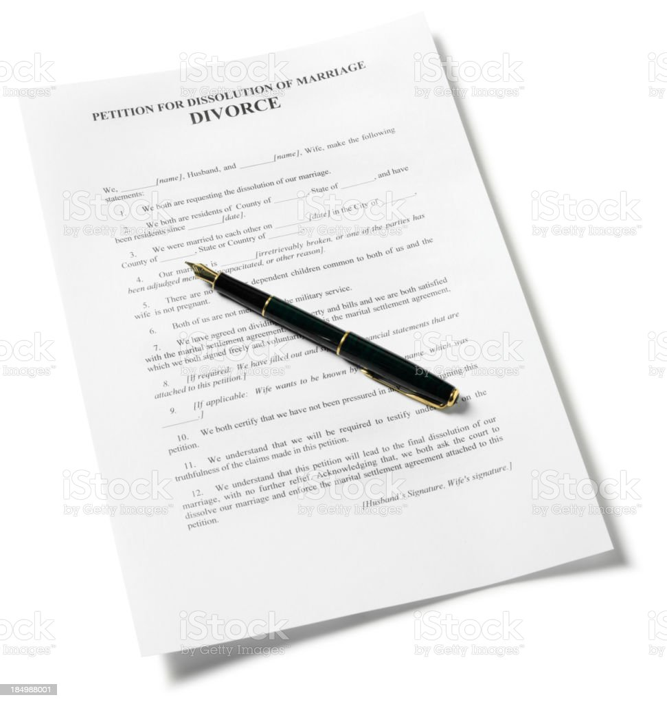 Divorce Papers and Pen stock photo