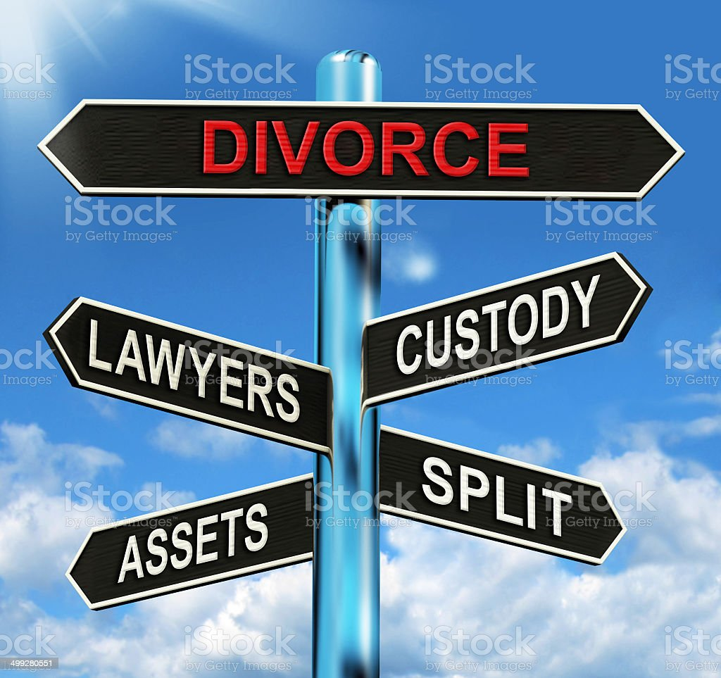 Divorce Signpost Means Custody Split Assets And Lawyers stock photo