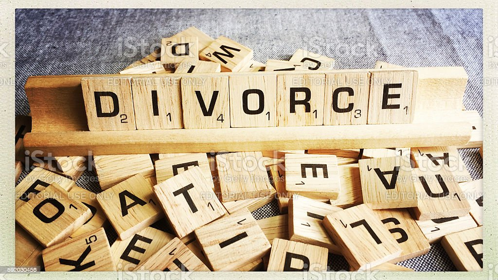 Divorce Spelled with Scrabble Tiles stock photo