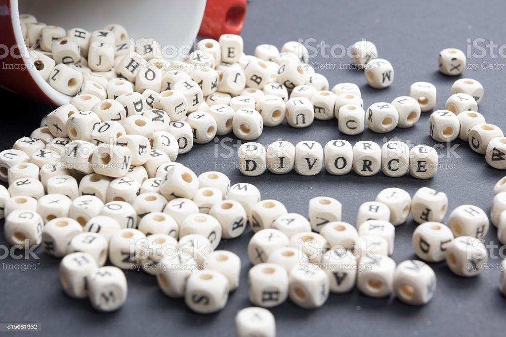 Divorce word written on wood block. Wooden ABC stock photo