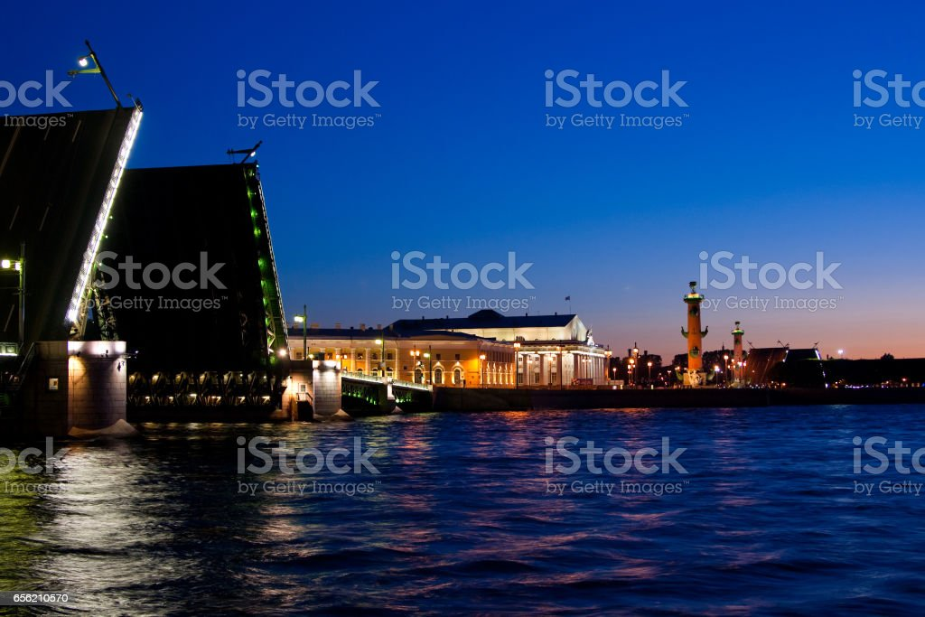 Divorced Palace Bridge during the White Nights , St. Petersburg, Russia. July 3, 2010 stock photo