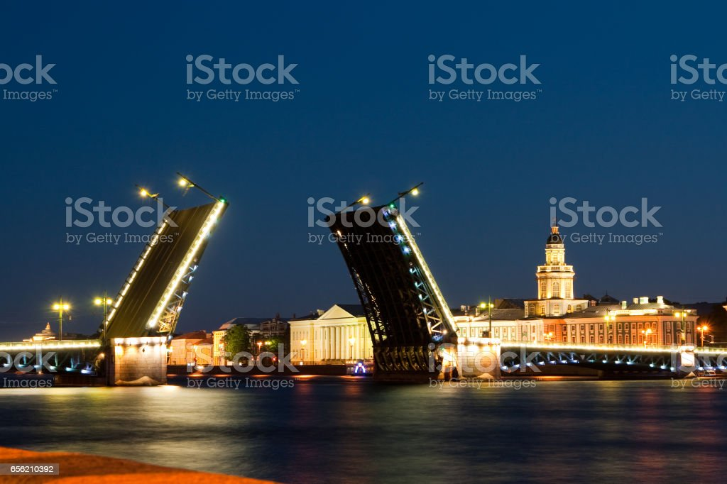 Divorced Palace Bridge during the White Nights view on Kuntskamera , St. Petersburg, Russia. July 3, 2010 stock photo