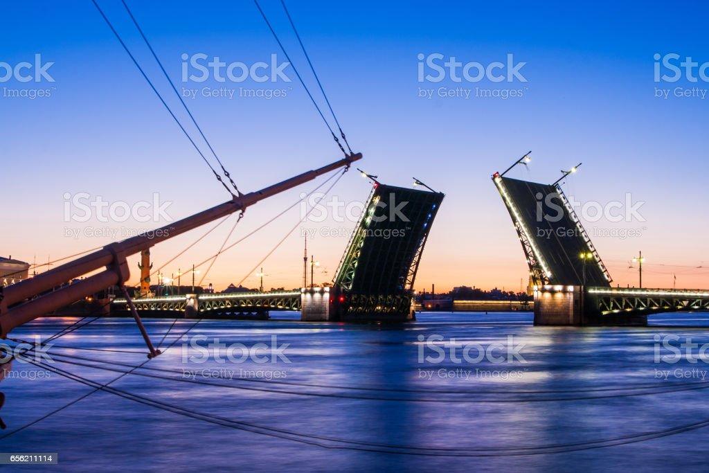Divorced Palace Bridge during the White Nights wiev on Kuntskamera , St. Petersburg, Russia. July 3, 2010 stock photo