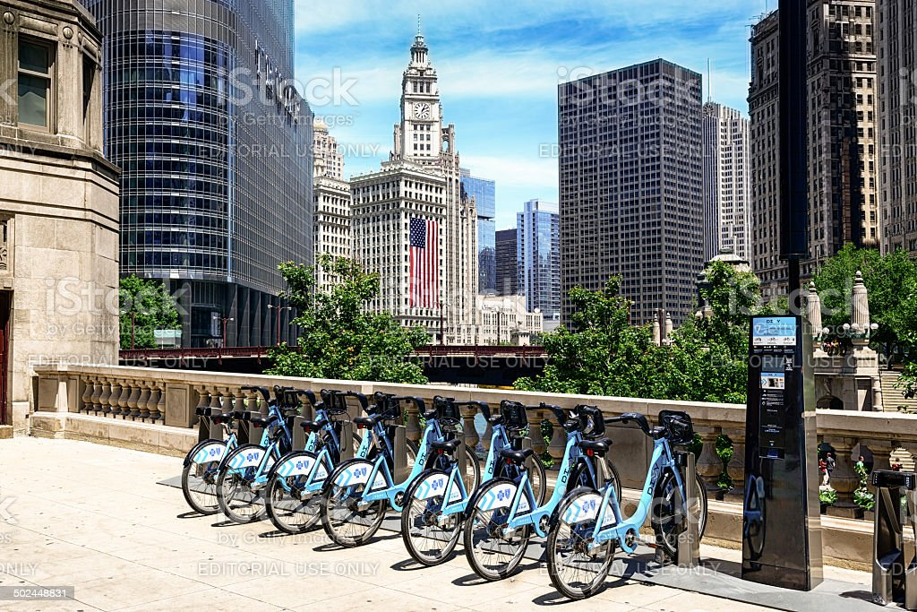 Divvy bicycle sharing system in Chicago stock photo