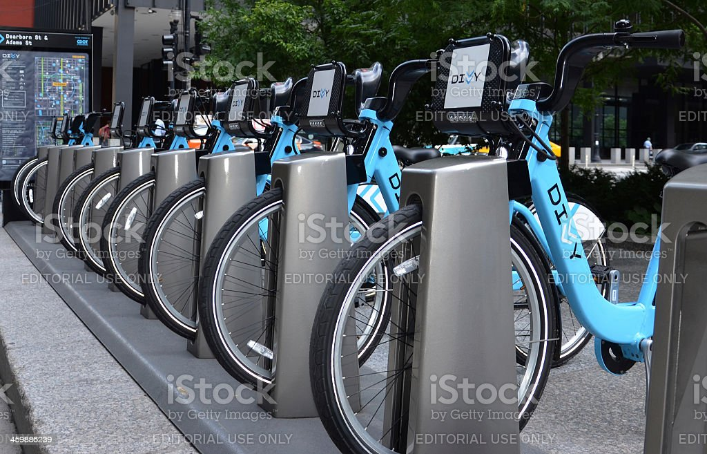 Divvy bike rental station in Chicago stock photo