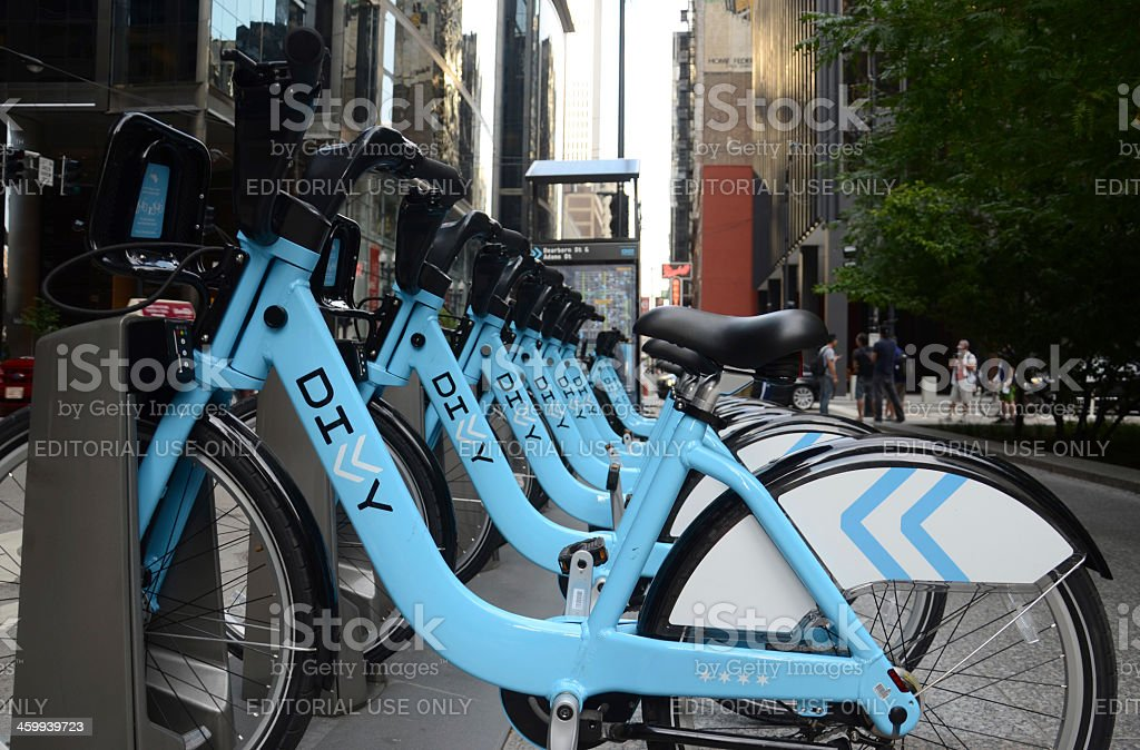 Divvy bike rental station in downtown Chicago, side view stock photo