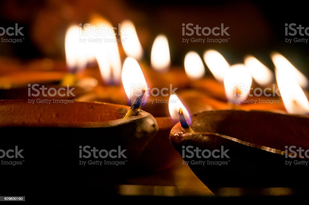 Diwali earthenware oil lamps, diyas stock photo
