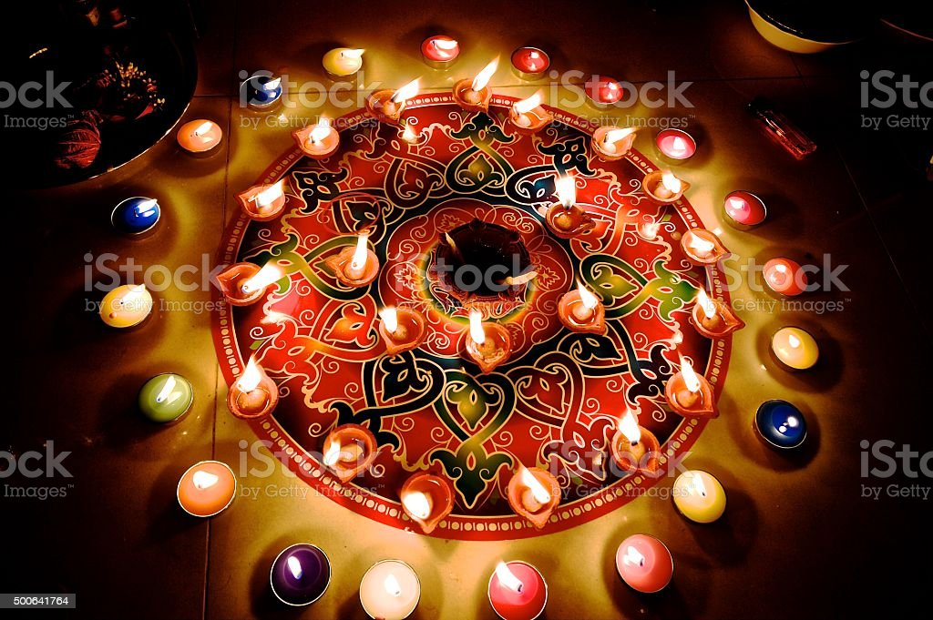 Diwali hindu festival celebration stock photo