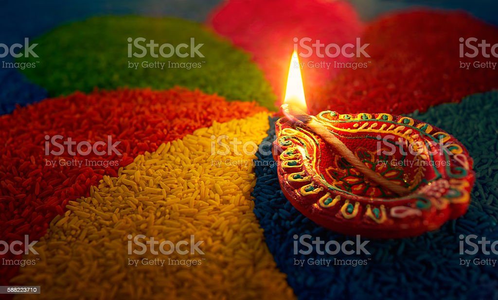 Diwali oil lamp stock photo