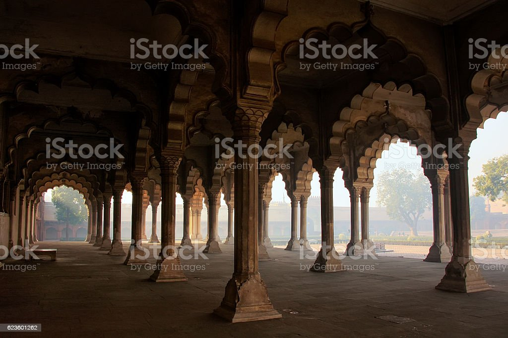 Diwan-i-Am - Hall of Public Audience in Agra Fort, India stock photo