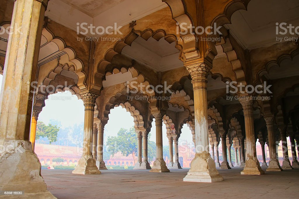 Diwan-i-Am - Hall of Public Audience in Agra Fort stock photo