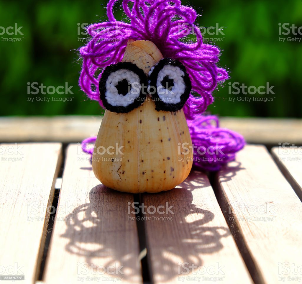 diy creative owl from conch shell stock photo