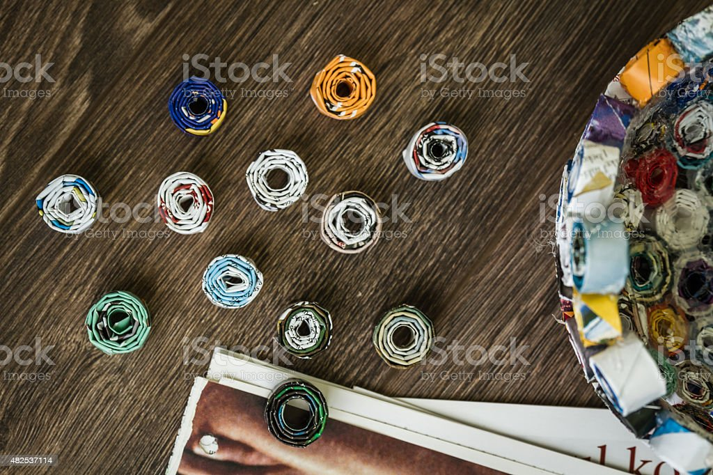 Diy Project from Waste Magazine stock photo