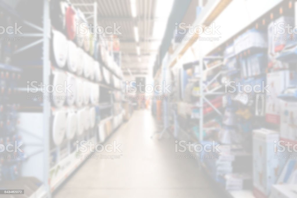Diy store aisle overexposed and out of focus. stock photo