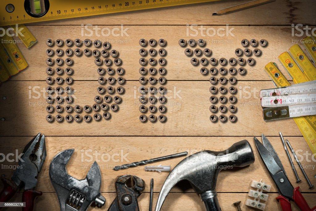 Diy Symbol and Work Tools stock photo