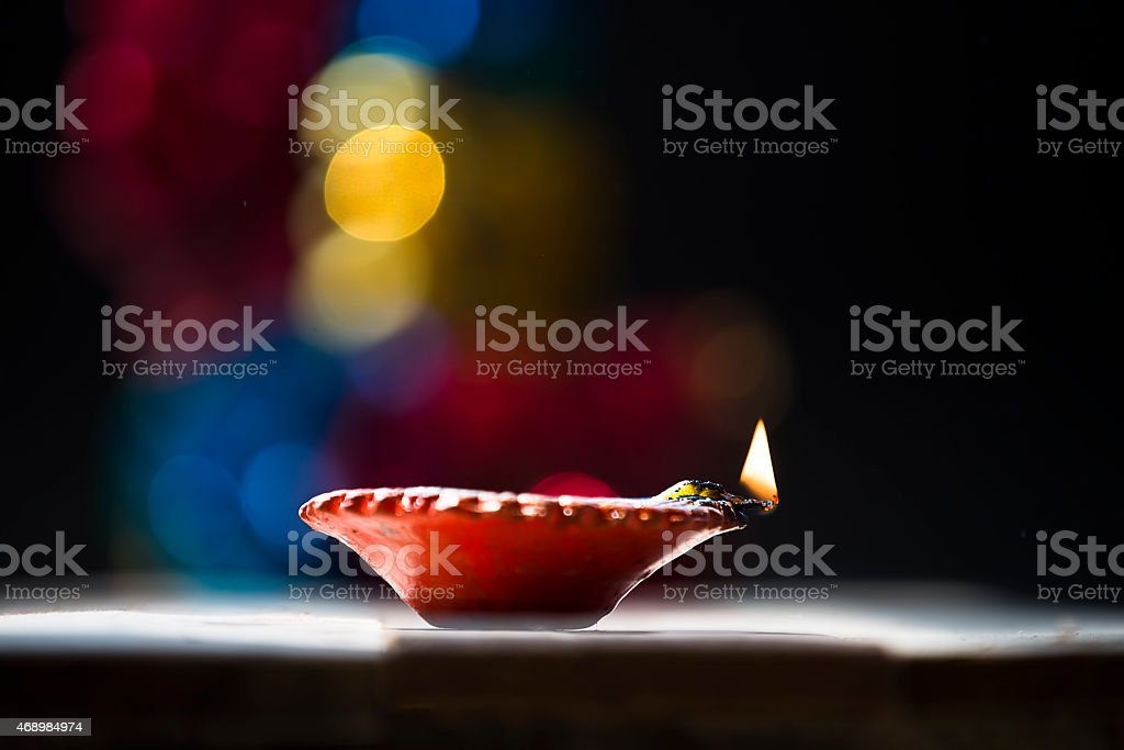 Diya or lamp, lit on the occasion of Diwali stock photo