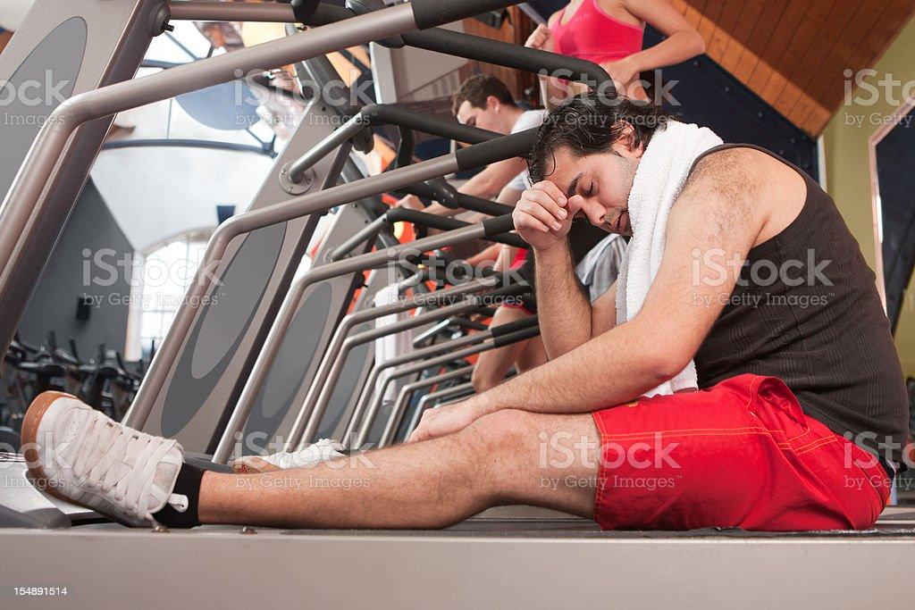 Dizzy in the gym stock photo