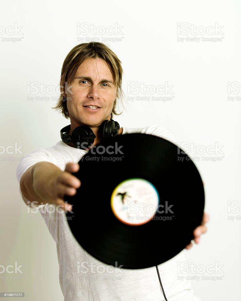 Dj and vinyl portrait stock photo