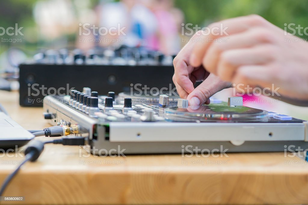 dj at work, DJ is making party stock photo