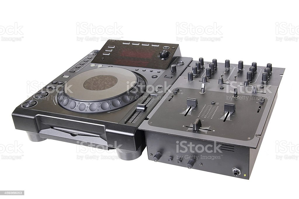 Dj cd player and mixer stock photo