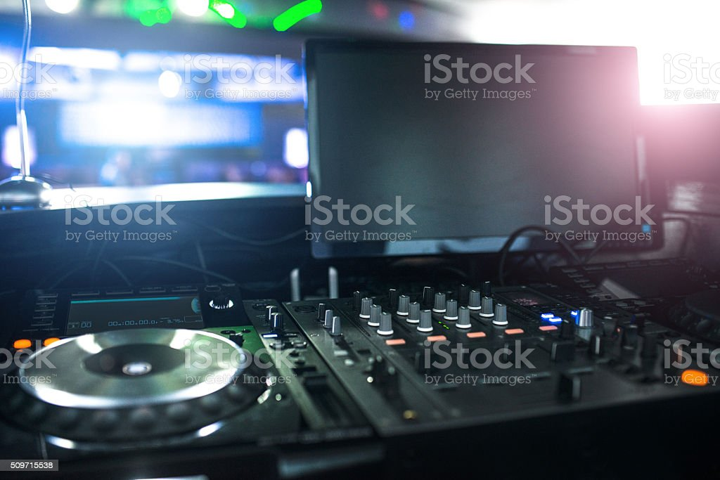 dj console at the club stock photo