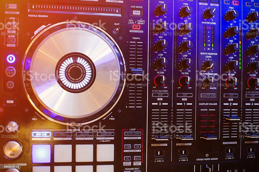 dj controller on nightclub parties DJ. sound equipment stock photo