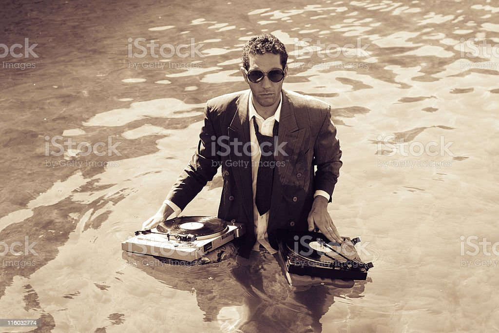 dj in sea royalty-free stock photo
