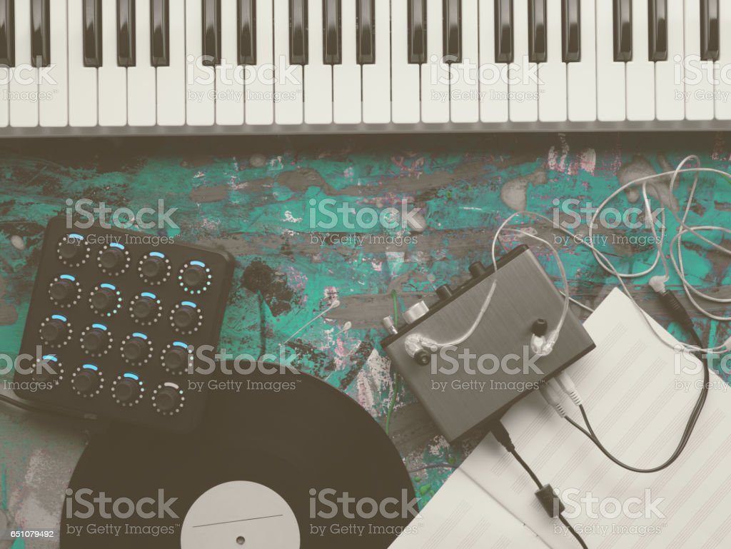 Dj midi keyboard piano synth keys with no people top view. Digital and analog musical equipment. Modern sound design. Tracks mixing and mastering. stock photo