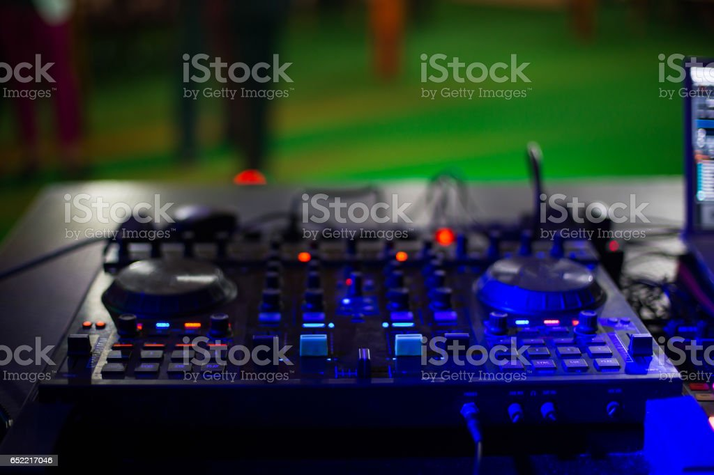 Dj mix pult on table stock photo