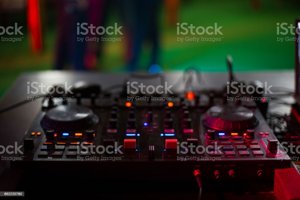 Dj mix pult with bautyfull light stock photo