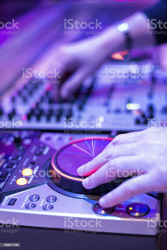 Dj Mixer Consolle in Disco stock photo