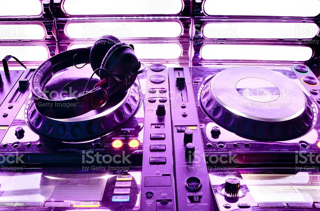 Dj mixer with headphones royalty-free stock photo