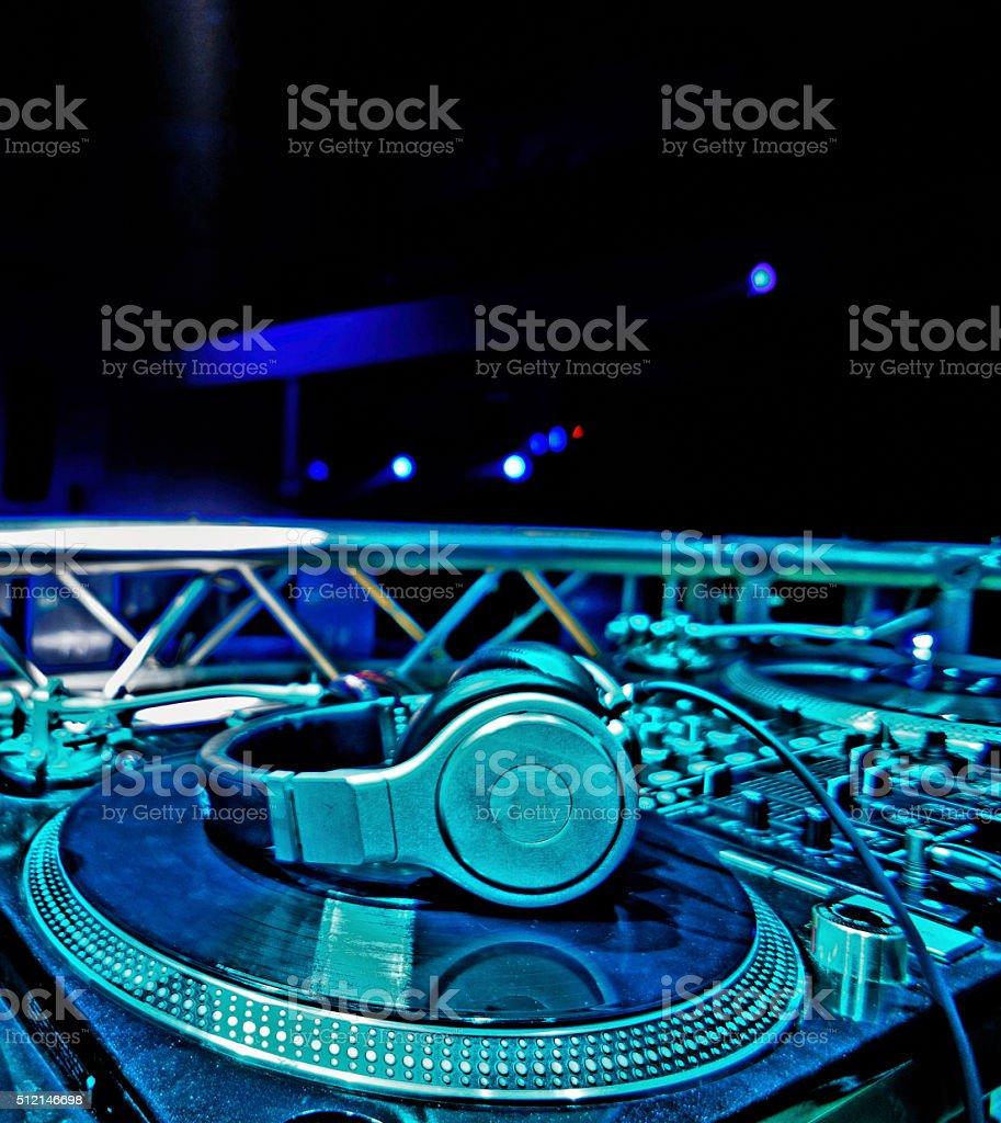 Dj Mixer With Headphones stock photo
