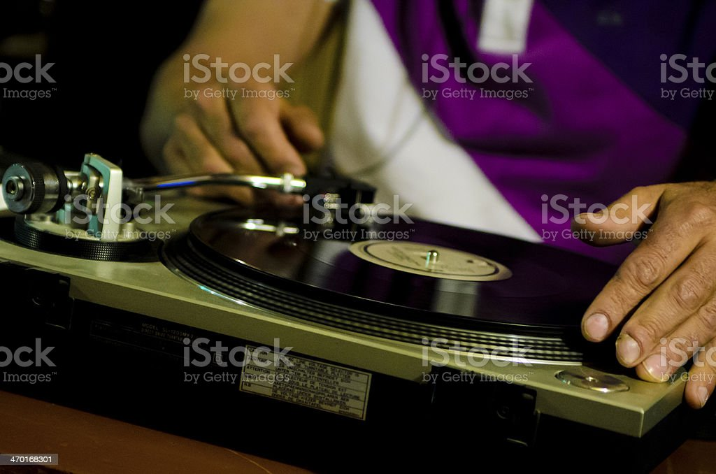Dj mixes old tracks royalty-free stock photo