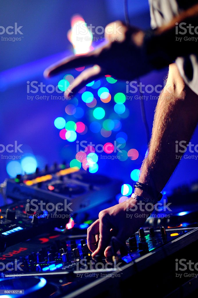 Dj mixes the track stock photo