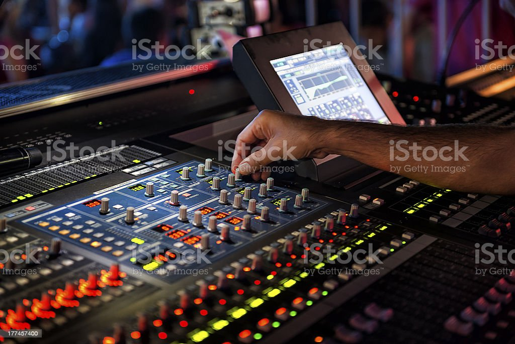 Dj mixing in nightclub royalty-free stock photo