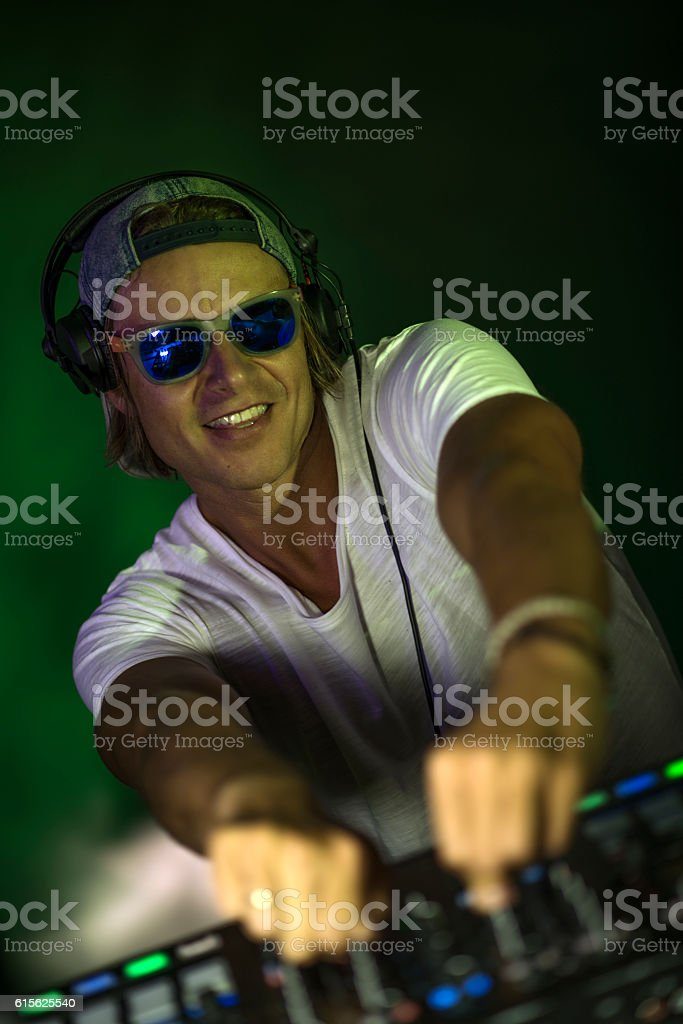 Dj mixing the track stock photo