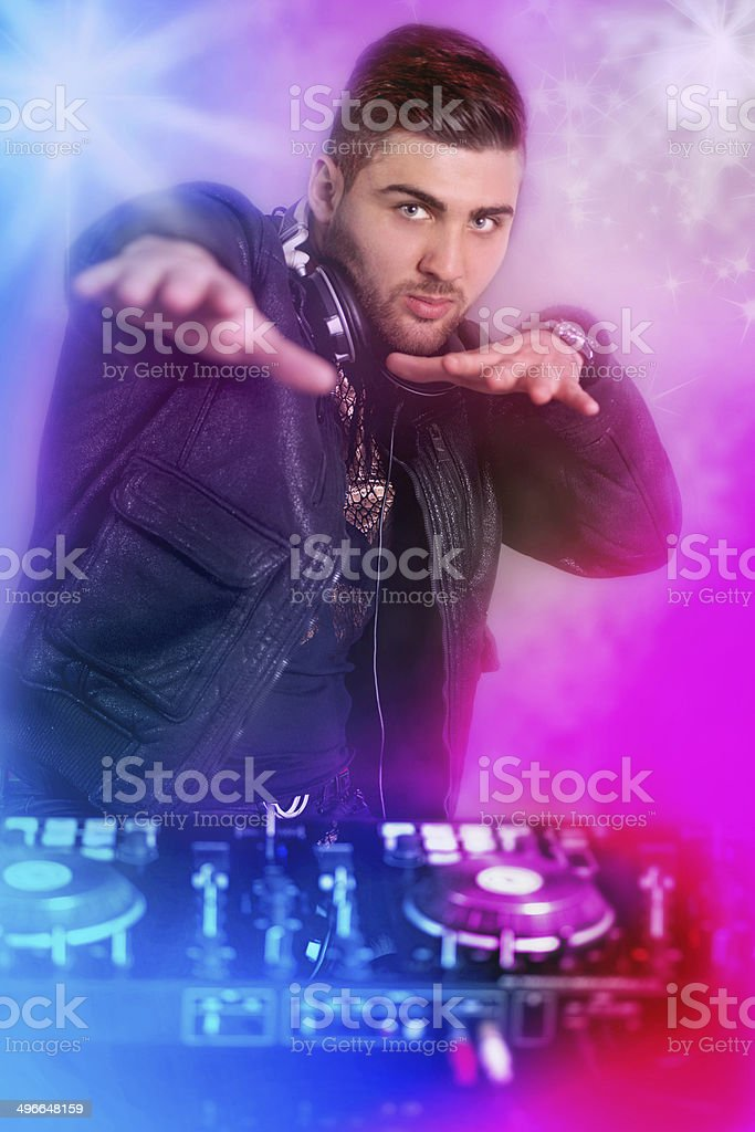 Dj playing disco house progressive electro music royalty-free stock photo