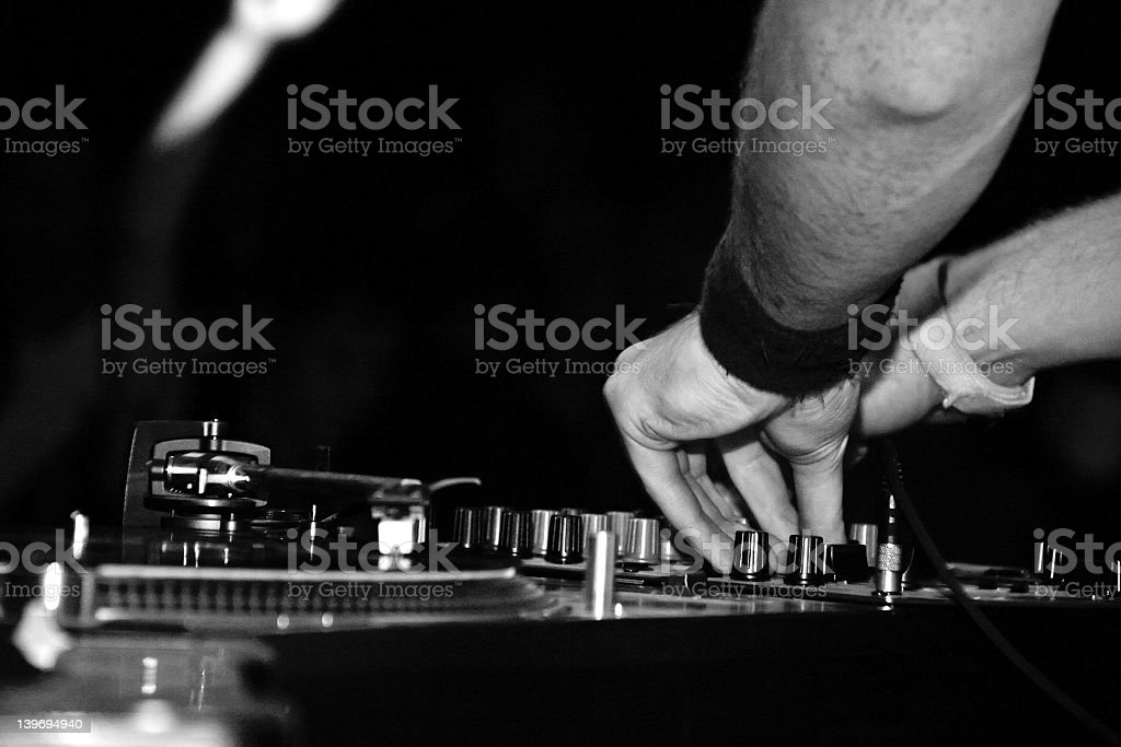 Dj spinning black and white royalty-free stock photo