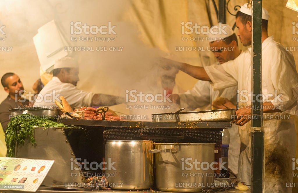 Djemaa el Fna kitchen stock photo