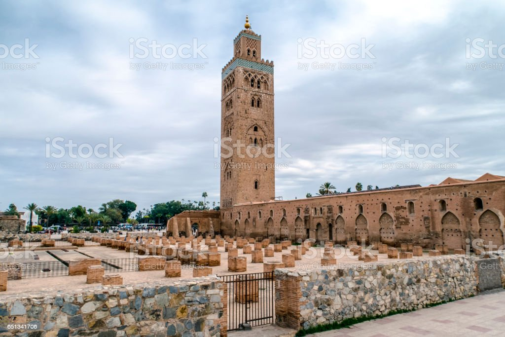 Djemaa EL Fna square and Koutoubia mosque in Marrakech Morocco stock photo