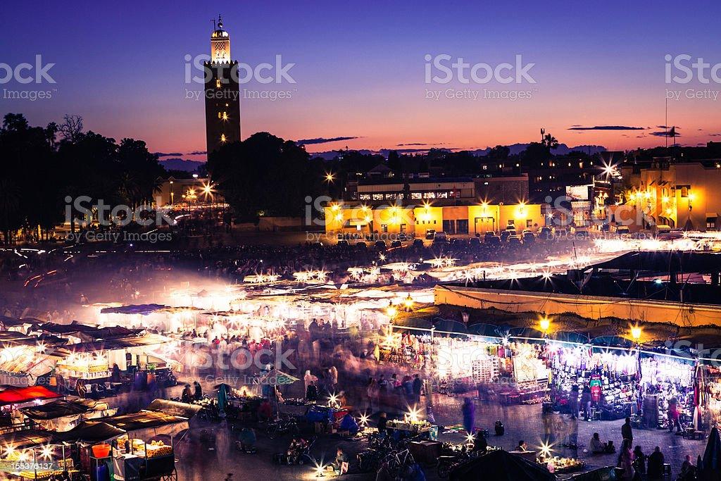 Djemaa el Fna square at dusk, Marrakech stock photo