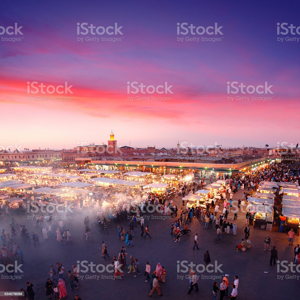 Djemaa el-Fna Square in Marrakesh stock photo