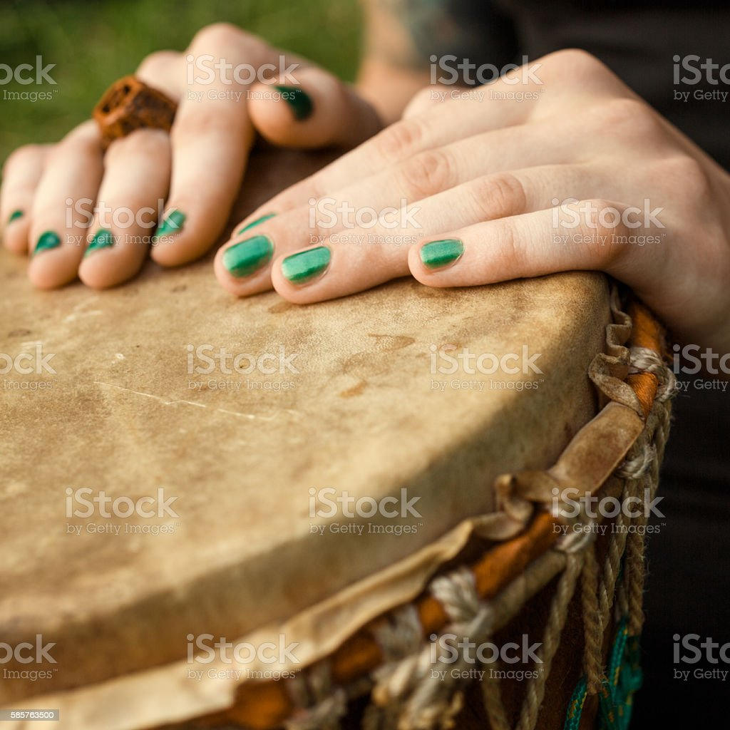 Djembe drumming stock photo