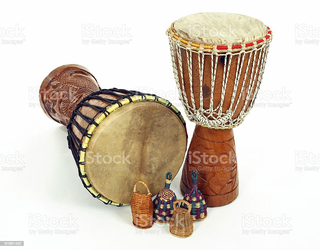 Djembe drums and caxixi shakers stock photo