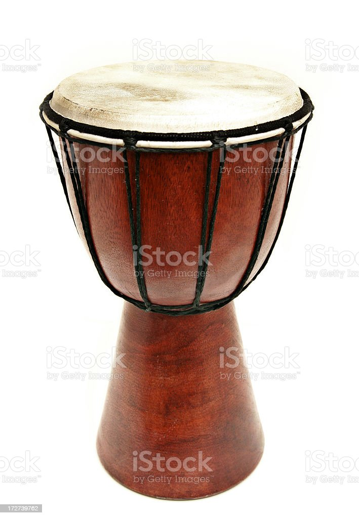 Djembe Wooden Hand Drum Isolated on White royalty-free stock photo