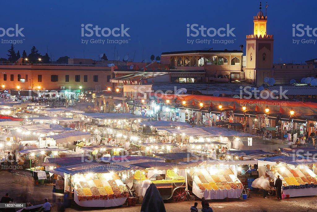 Djemma El Fna Market Square at Night royalty-free stock photo