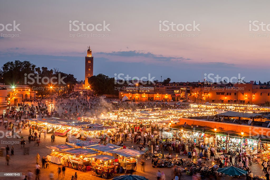 Djemma El Fna Marrakech by Night stock photo